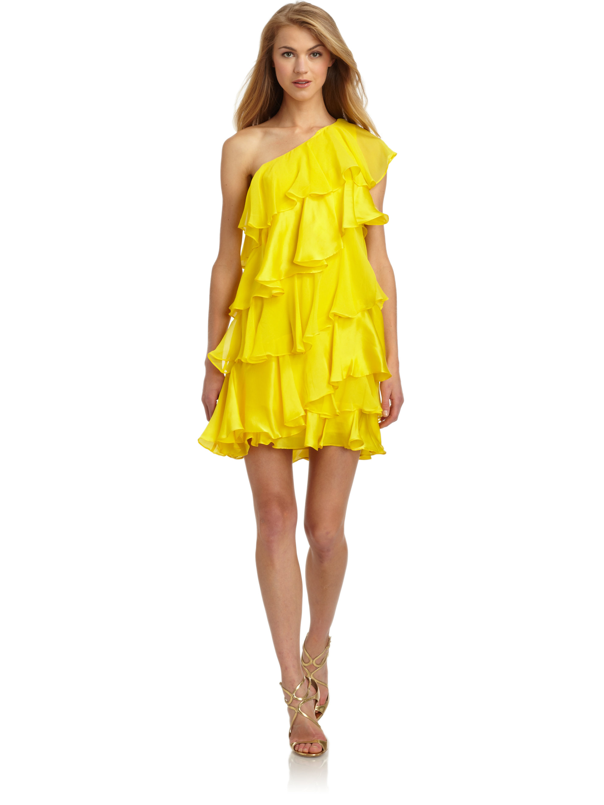 Halston Silk Chiffon Tiered Ruffle Cocktail Dress in Yellow  Lyst
