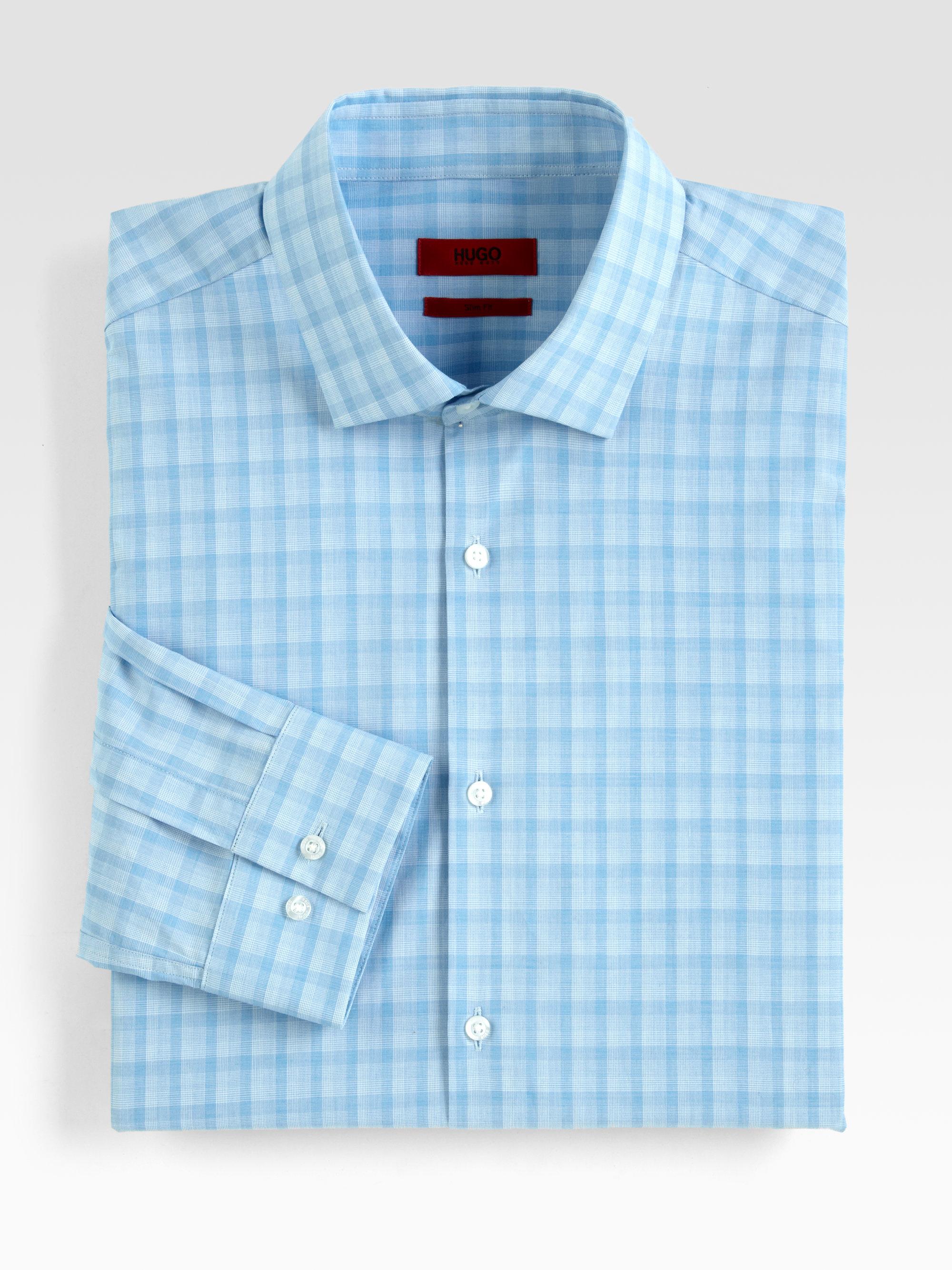 Hugo Tonal Check Dress Shirt In Blue For Men Aqua Navy