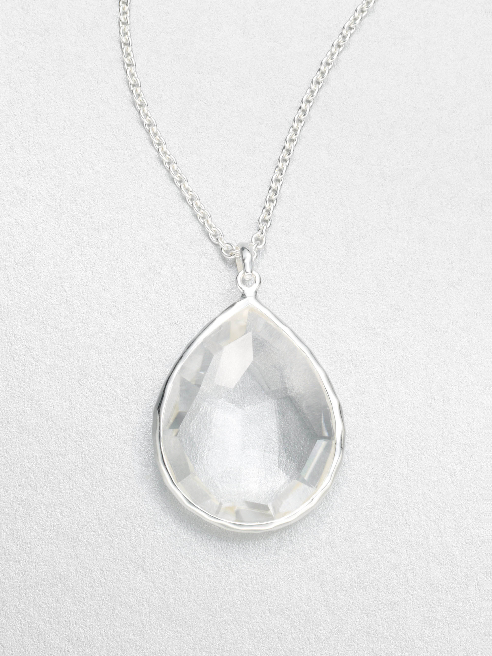 large quartz product clear lyst pendant ippolita teardrop necklace sterling crystal jewelry silver gallery