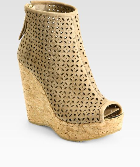 jimmy choo paw perforated suede cork wedge ankle boots in