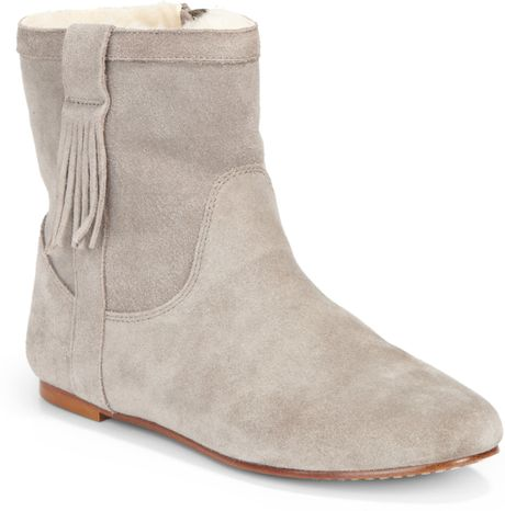 joie moondance suede flat ankle boots in gray dove grey