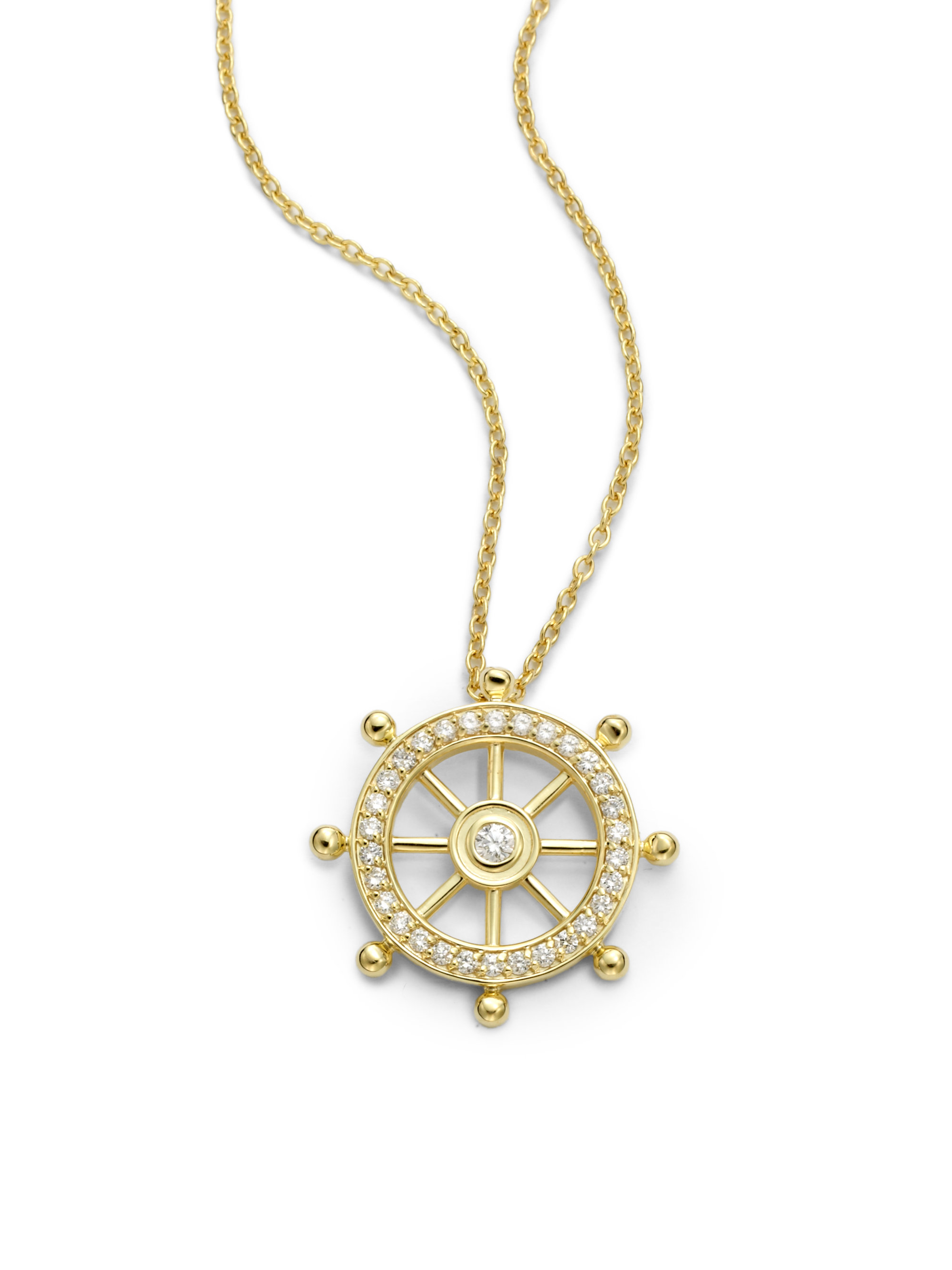 Kc Designs Diamond Nautical Wheel Necklace In Gold Lyst