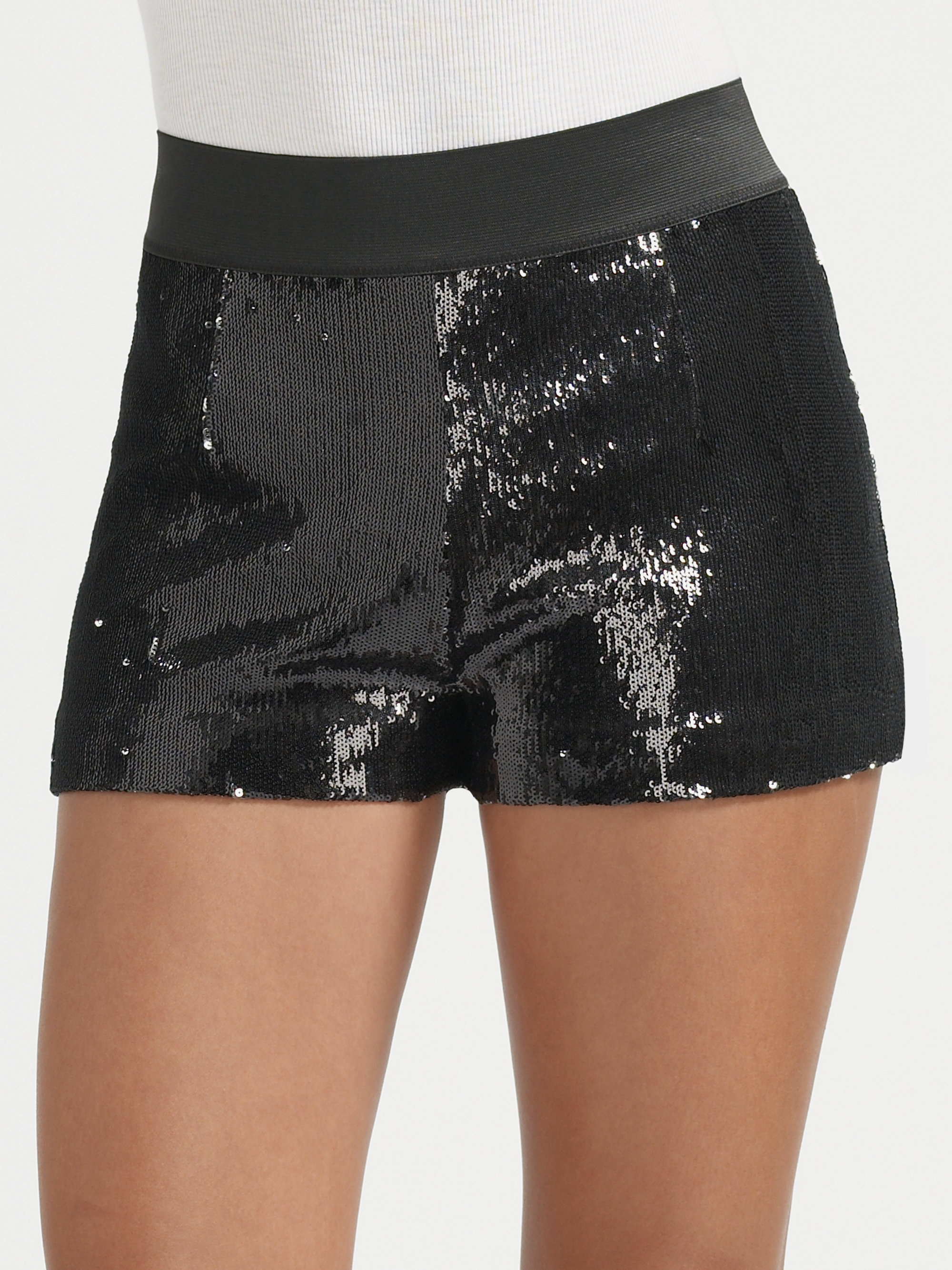 Larok Hot Hot Sequin Shorts in Black (black/silver) | Lyst