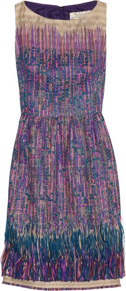 Lela Rose Fringed Tweed Dress - Lyst