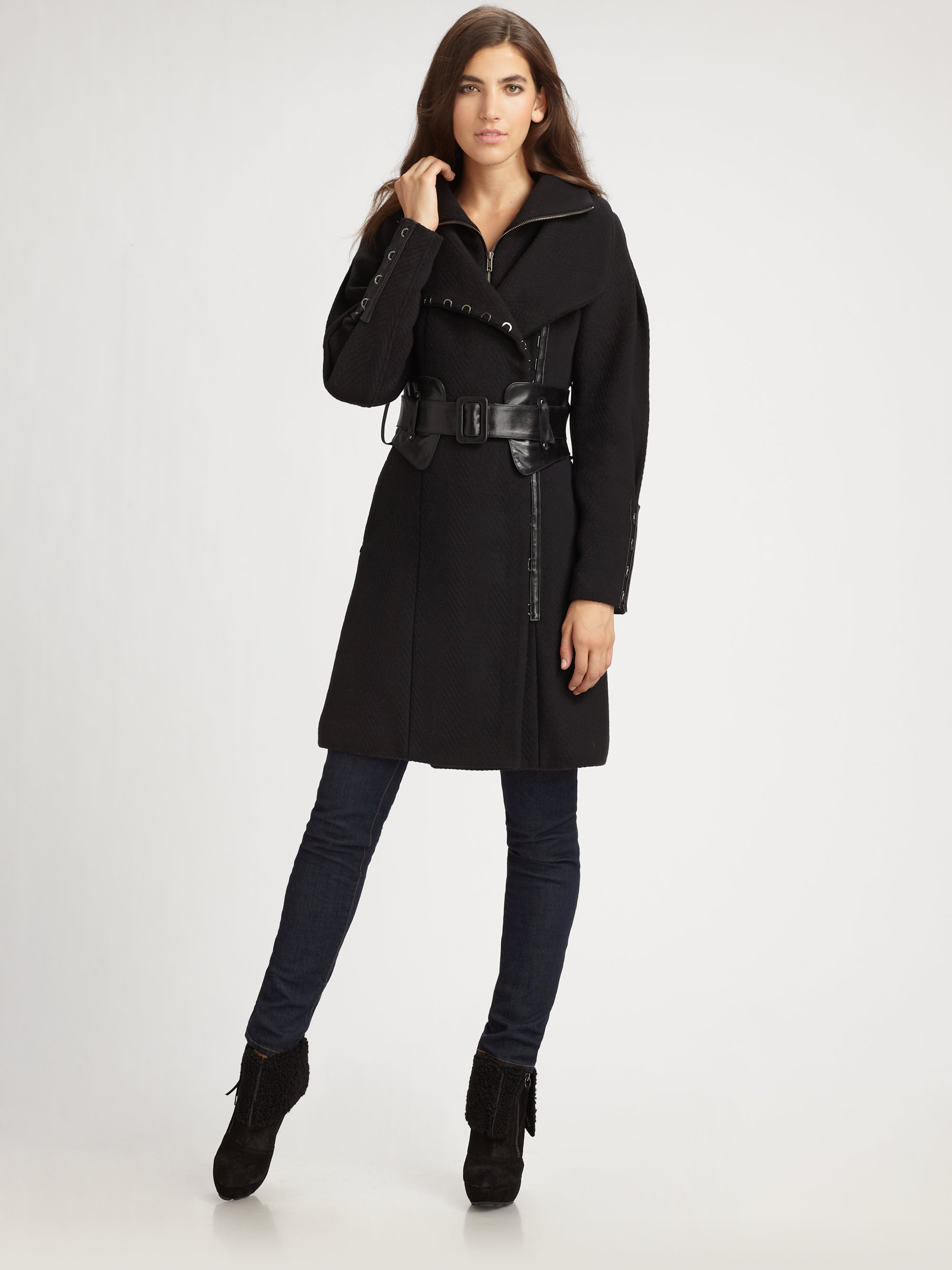 Mackage Leather Belted Wool Coat in Black | Lyst