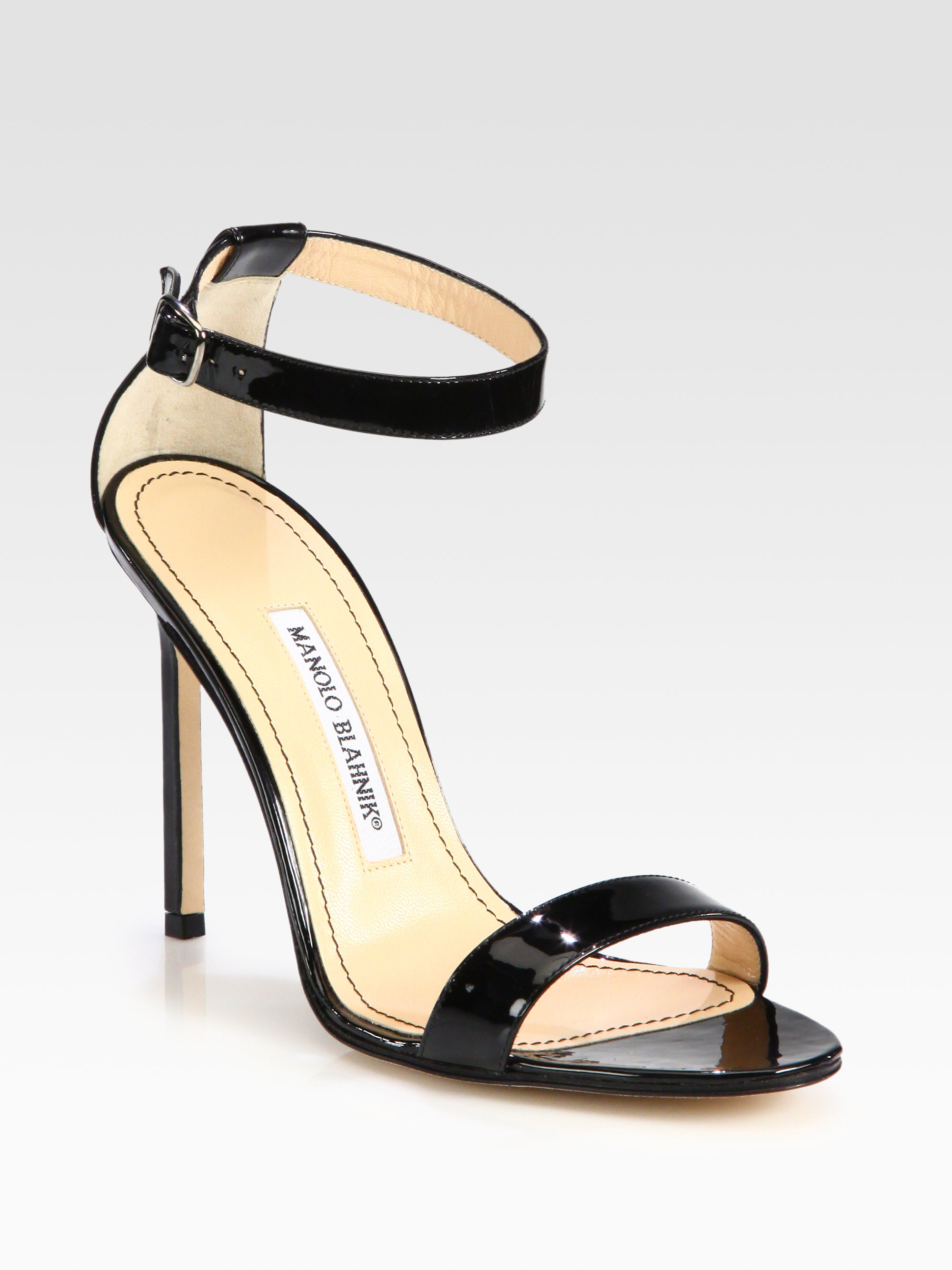 Black Patent Court Shoes With Ankle Strap