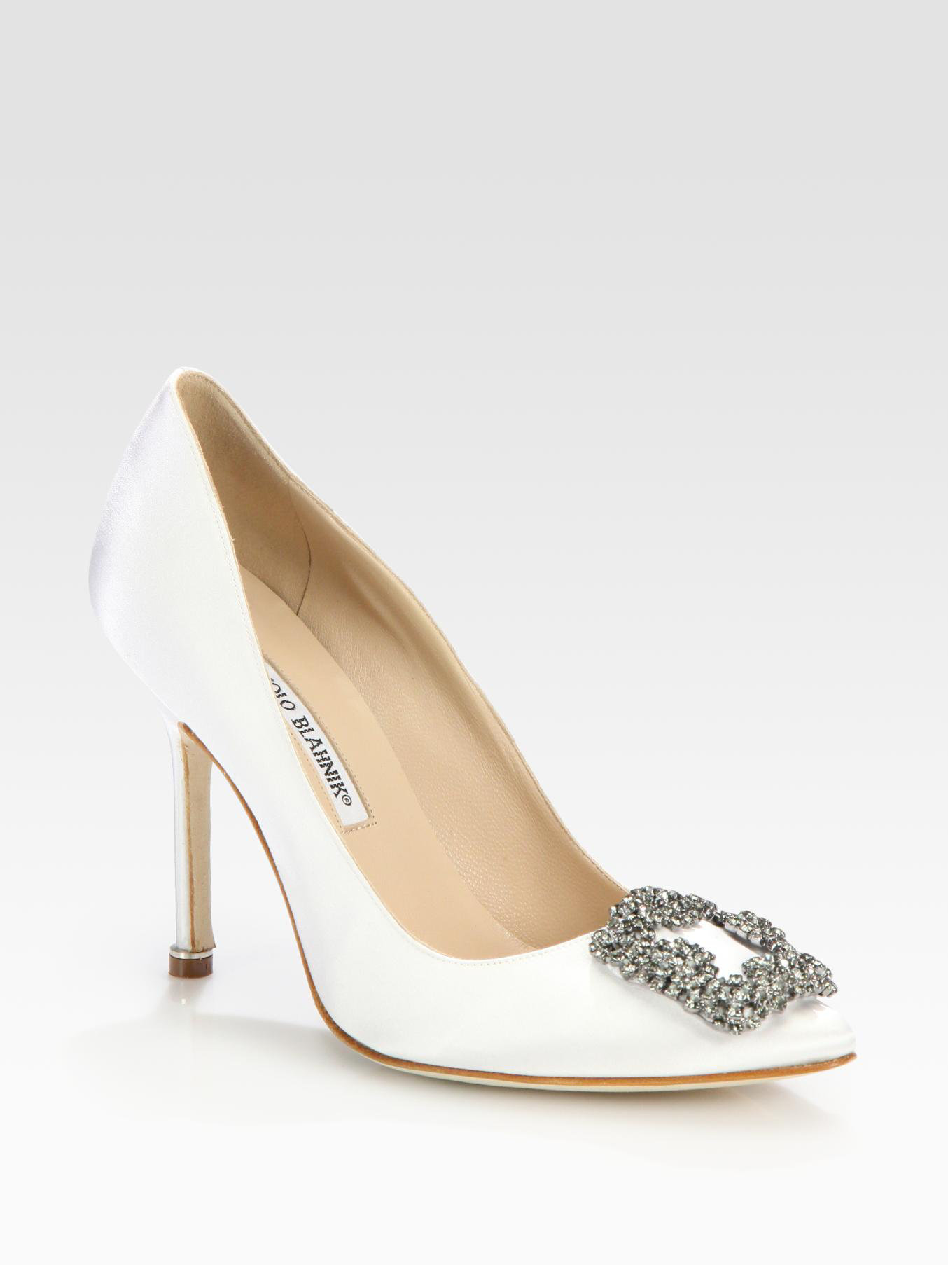Manolo blahnik hangisi 105 satin pumps in white lyst for Who is manolo blahnik