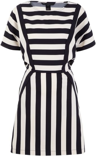 Marc By Marc Jacobs Navy and Cream Striped Scooter Dress - Lyst