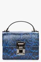 Mugler Blue and Black Water Snake Leather Muglerette Bag