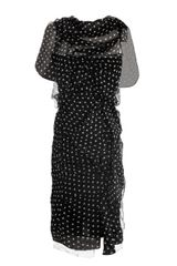 Nina Ricci Polka Dot Ruched Dress - Lyst