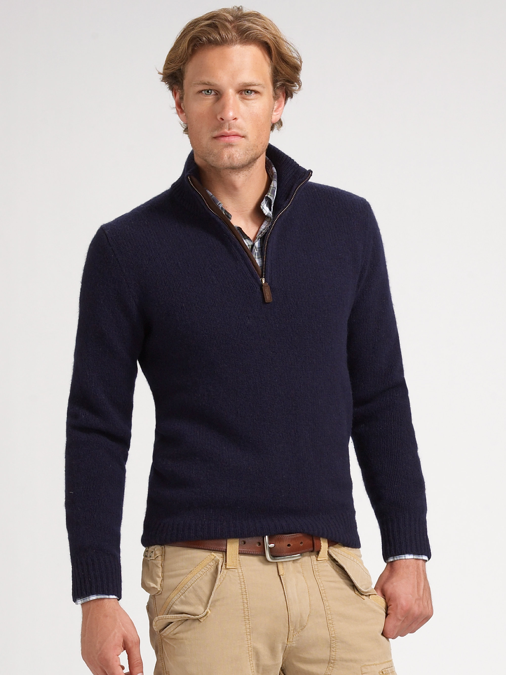 polo ralph lauren halfzip merino sweater in blue for men lyst. Black Bedroom Furniture Sets. Home Design Ideas