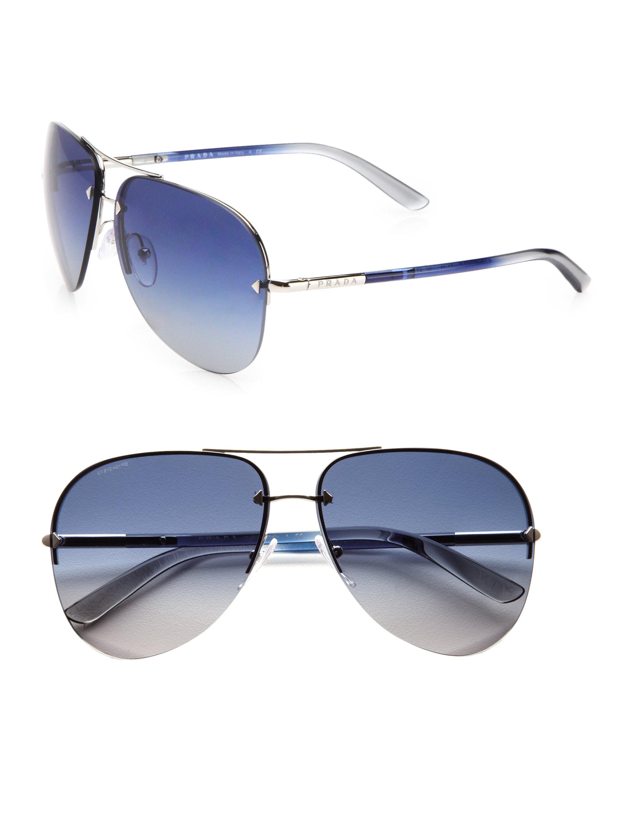 8725170cc0 Lyst - Prada Tubular Aviator Sunglasses in Metallic for Men