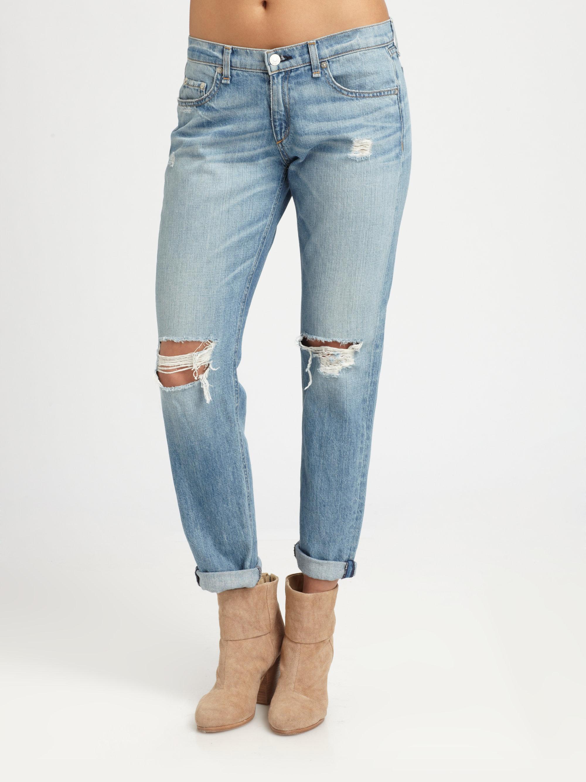 8ddbdb5a8b2 Rag & Bone The Boyfriend Distressed Jeans in Blue - Lyst