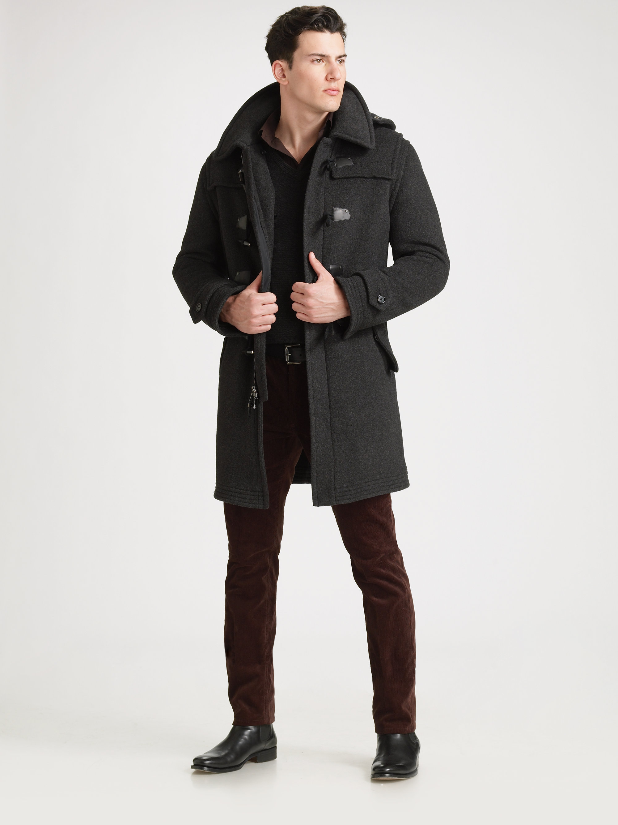 Ralph lauren black label Alpine Toggle Coat in Gray for Men | Lyst