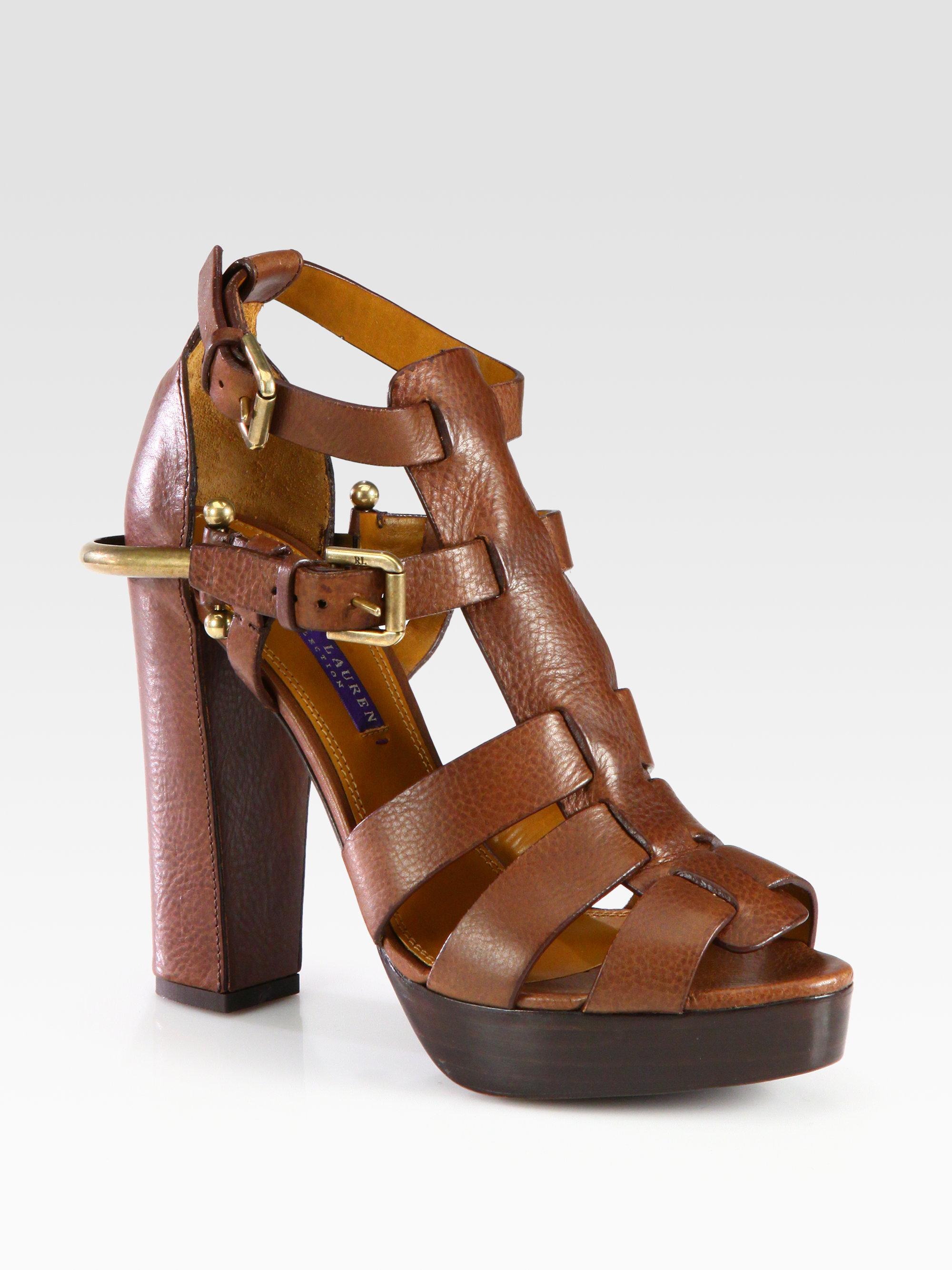 Lauren Ralph Lauren Leather Platform Sandals amazon sale online cheap sale reliable cheap sale official 9UPnT04DVa