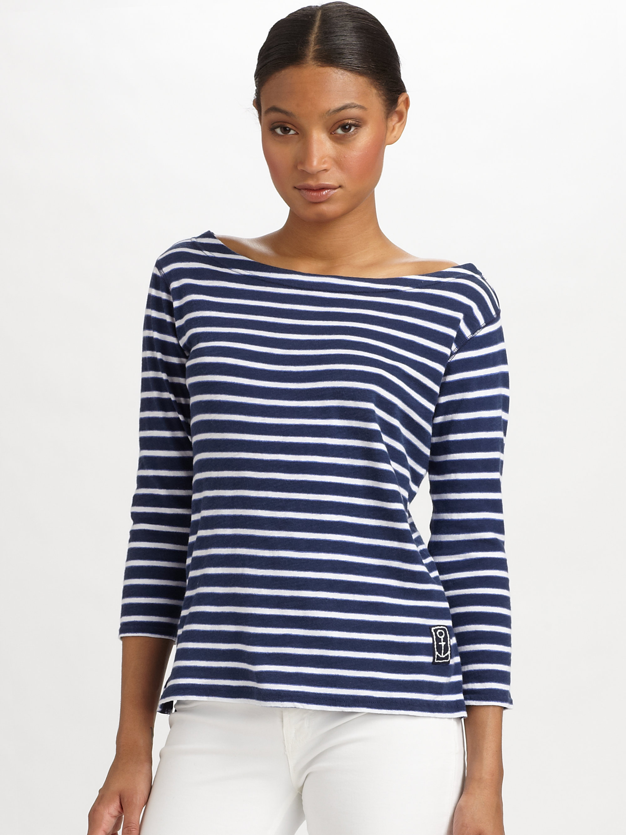 Rebecca taylor french sailor cotton tee in blue blue for Striped french sailor shirt