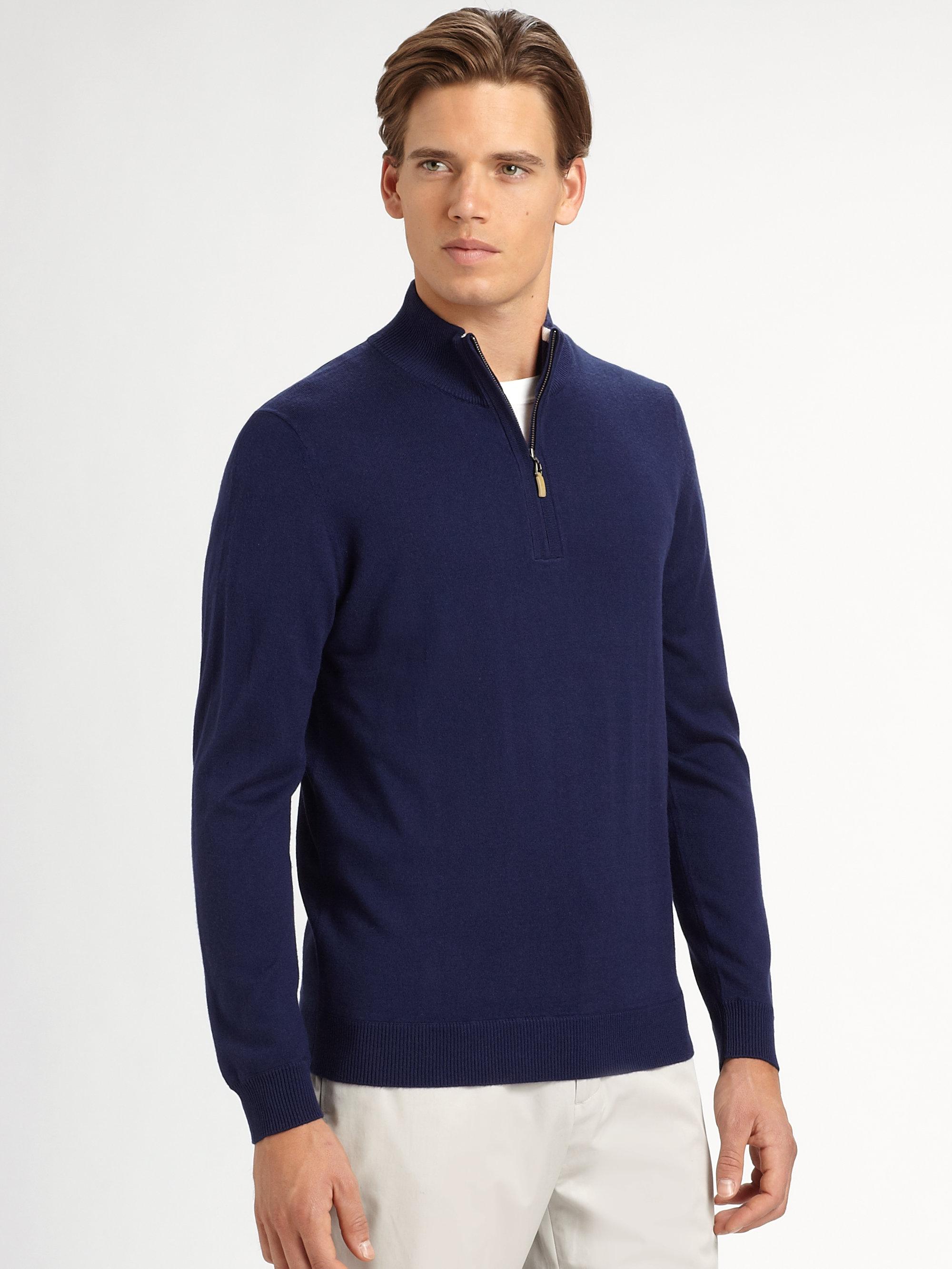 Saks fifth avenue Quarterzip Mockneck Sweater in Blue for Men | Lyst