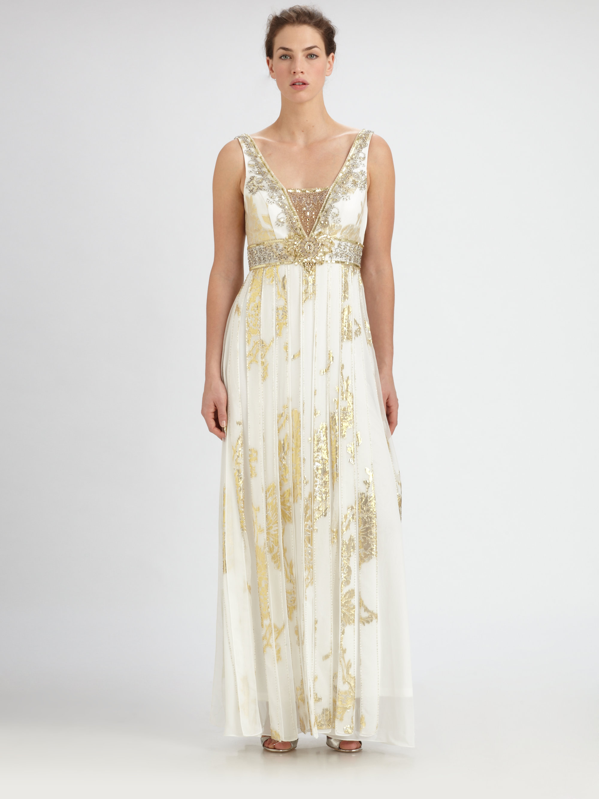 Lyst - Sue Wong Beaded Silk Jacquard Gown in Metallic