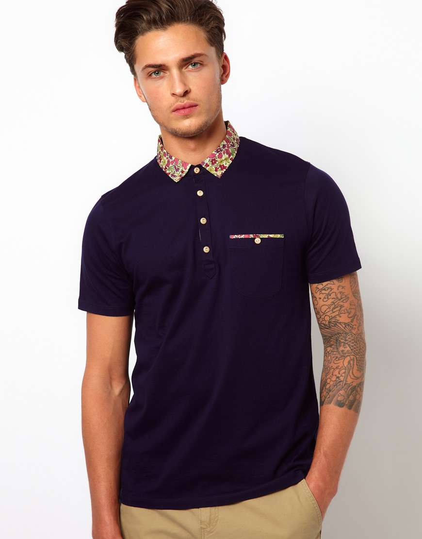 a814a743294d4 Lyst - Ted Baker Floral Polo Shirt in Blue for Men