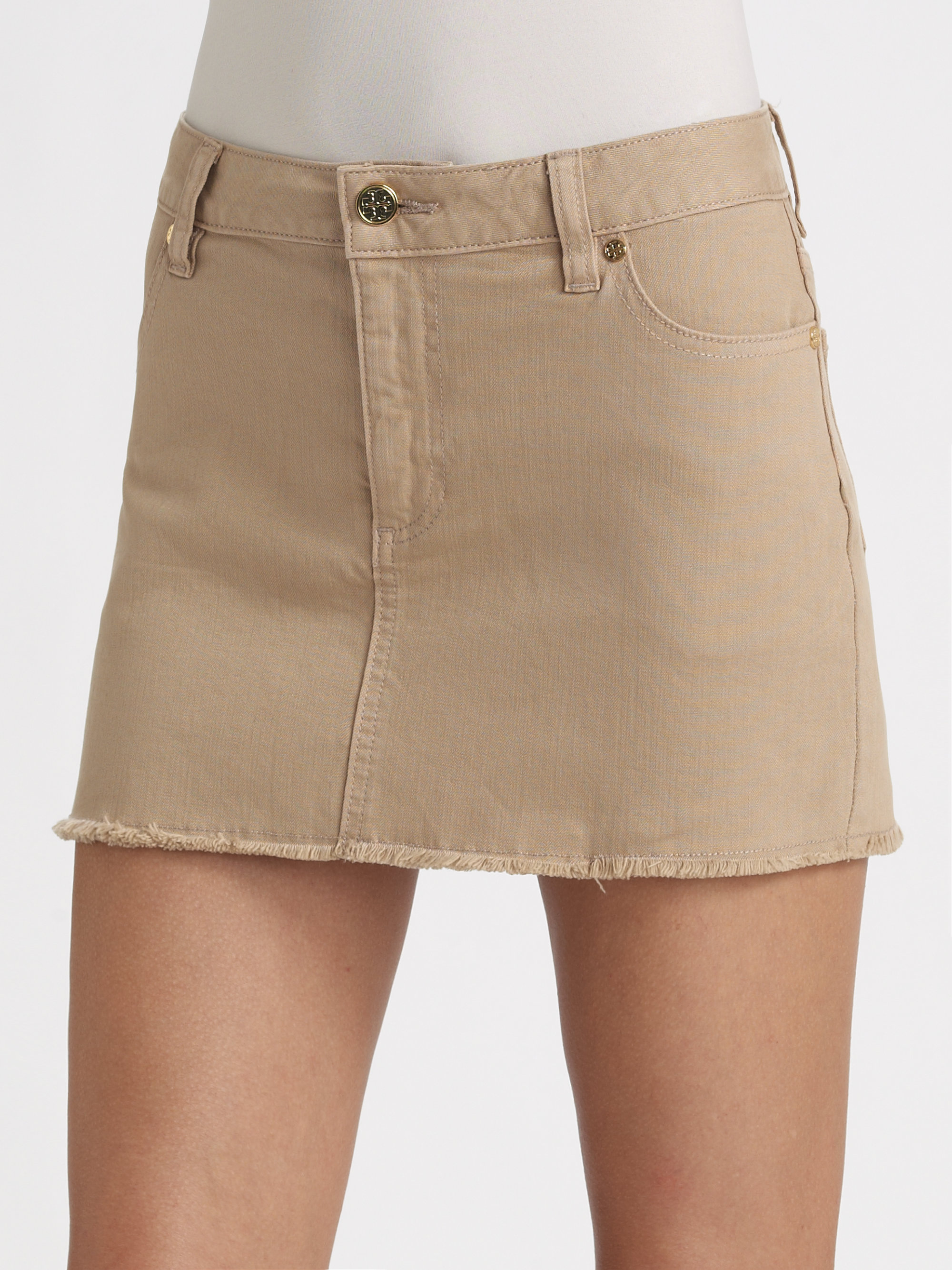 Tory burch Denim Mini Skirt in Brown | Lyst