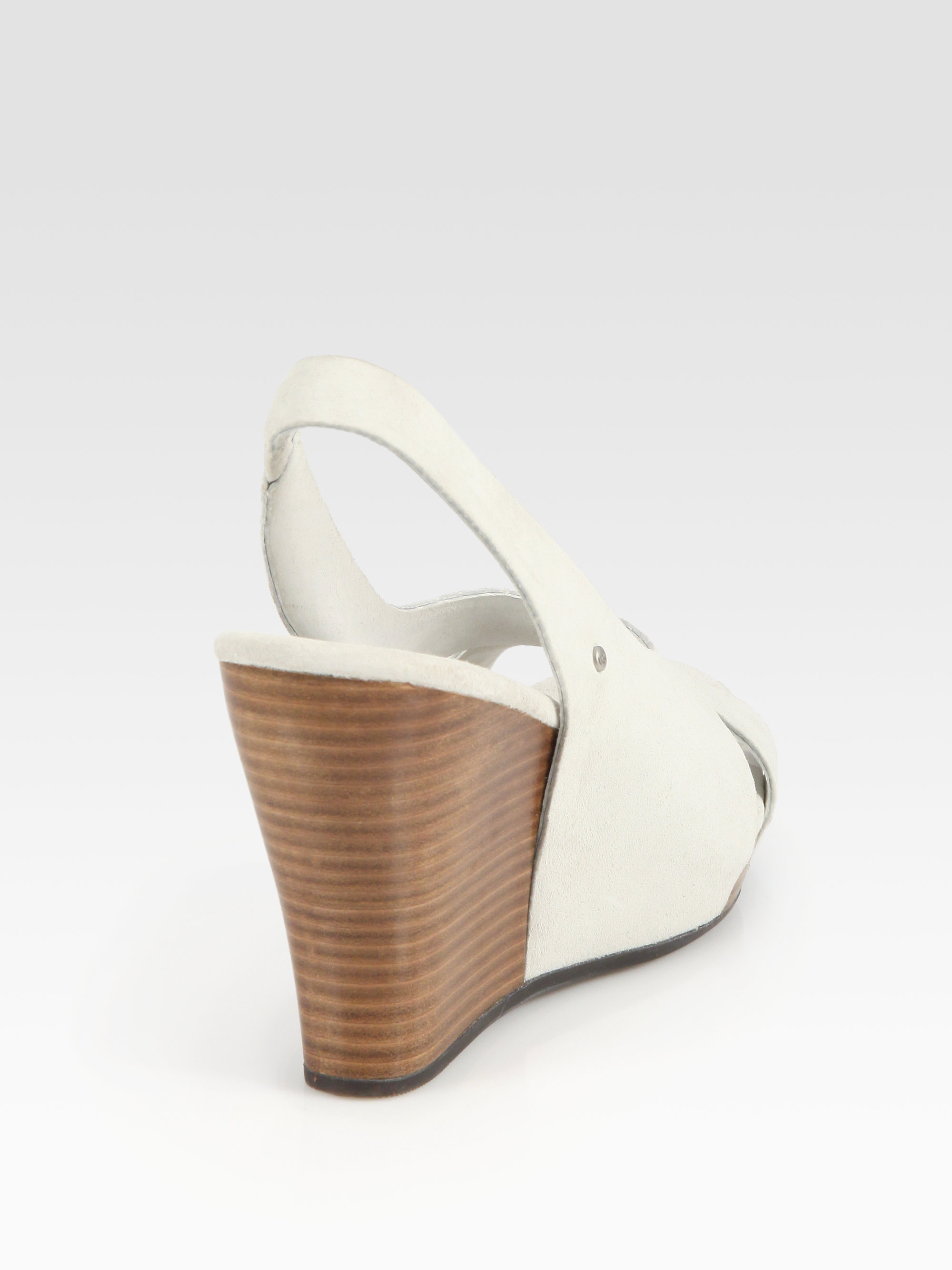 6aa934b4bfd Lyst - UGG Hazel Suede Slingback Wedge Sandals in White