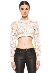 3.1 Phillip Lim Open Knit Embroidered Cropped Sweater  - Lyst