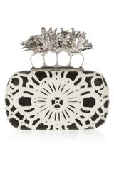 Alexander McQueen Dandelion Knuckle Swarovski Crystal Calf Hair and Leather Box Clutch - Lyst