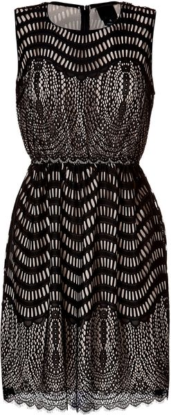 Anna Sui Wavy Scallop Cutout Dress in Black Multi - Lyst