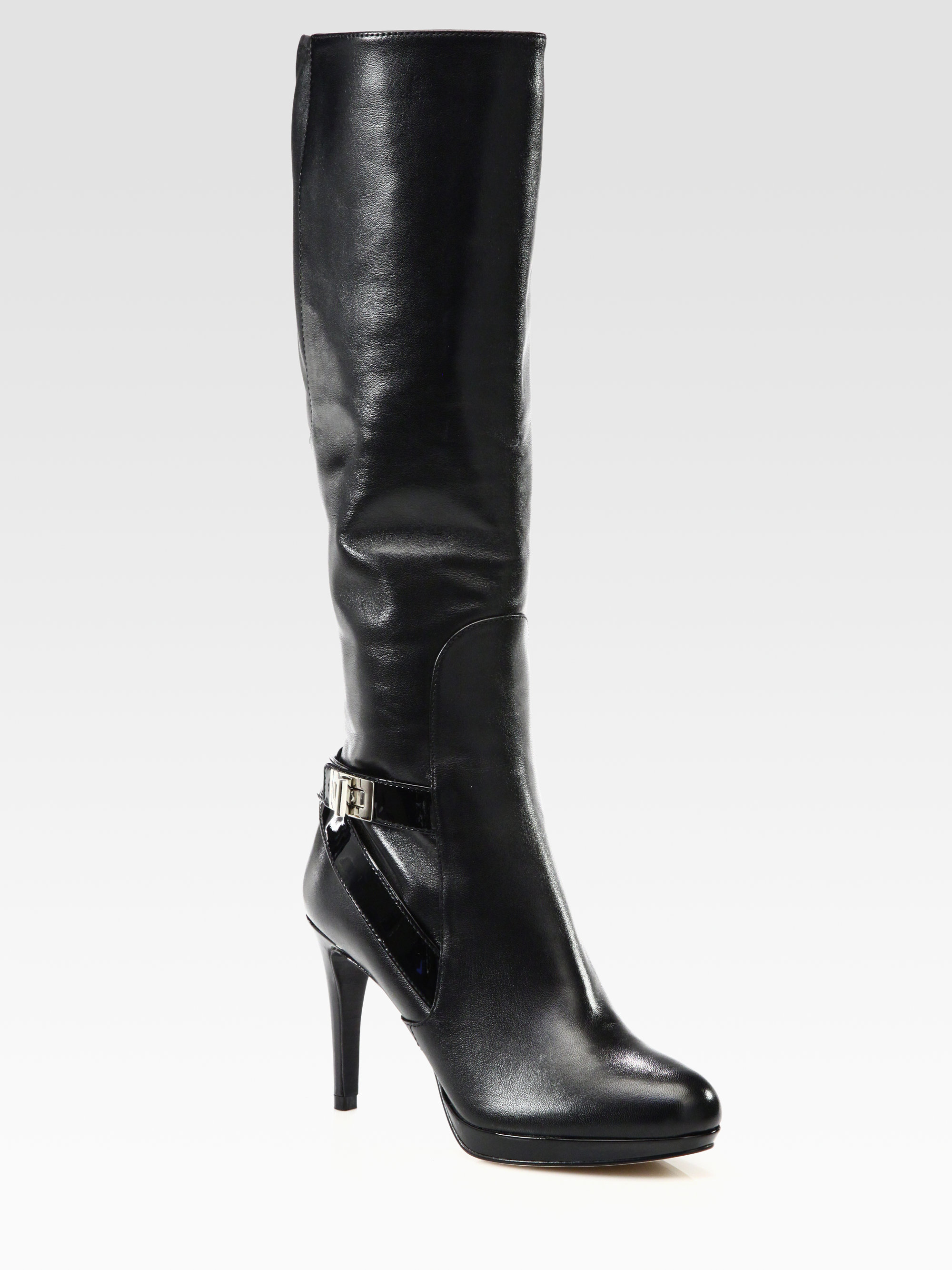cole haan leather and patent leather knee high boots in