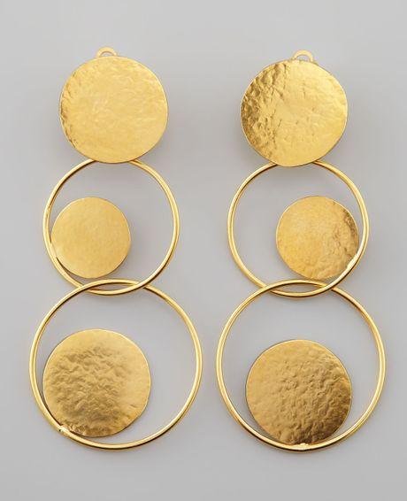 herve van der straeten hammered gold circle drop earrings. Black Bedroom Furniture Sets. Home Design Ideas