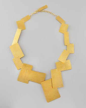 Herve Van Der Straeten Hammered Gold Geometric Necklace - Lyst