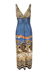 Jane Norman Royal Print Maxi Dress - Lyst