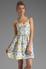 Juicy Couture Bright Rose Jacquard Bustier Dress in Yellowblue - Lyst