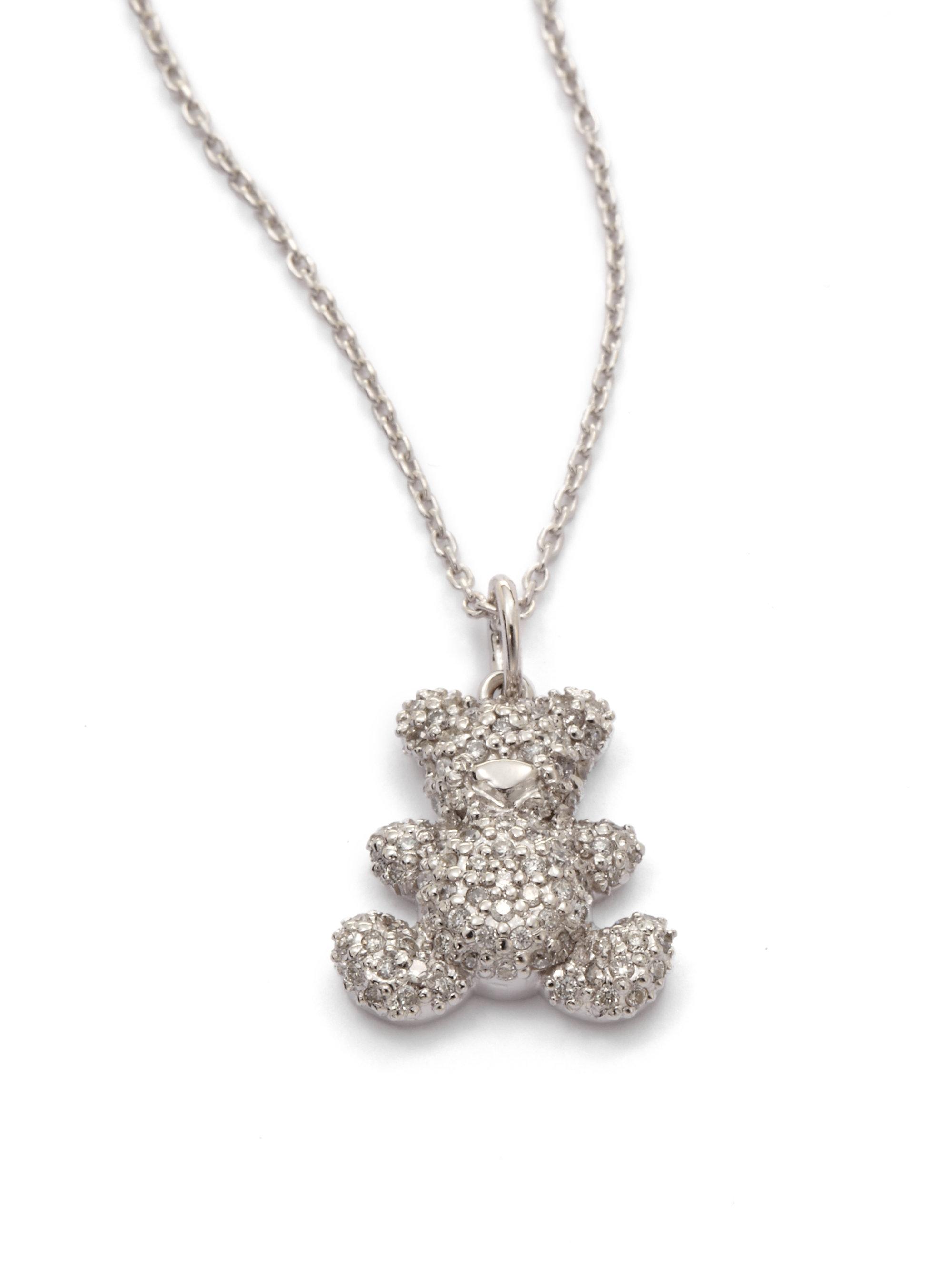 8471f1b73a22ff KC Designs Diamond Teddy Bear Pendant Necklace in Metallic - Lyst
