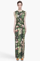 Kenzo Green Orchid Print Dress