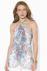 Lauren by Ralph Lauren Ruffled Silk Halter Top - Lyst