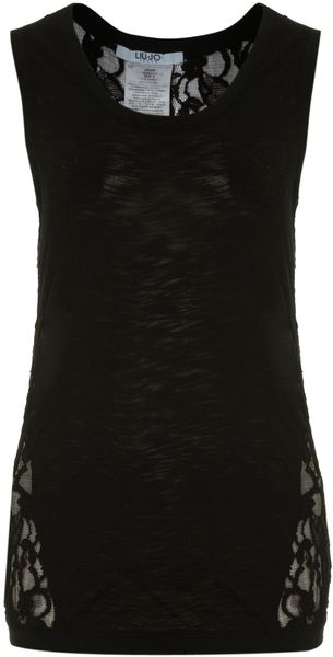 Liu Jo Sleeveless Lace Back Tank Top - Lyst