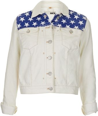 Moto Flag Denim Jacket - Lyst