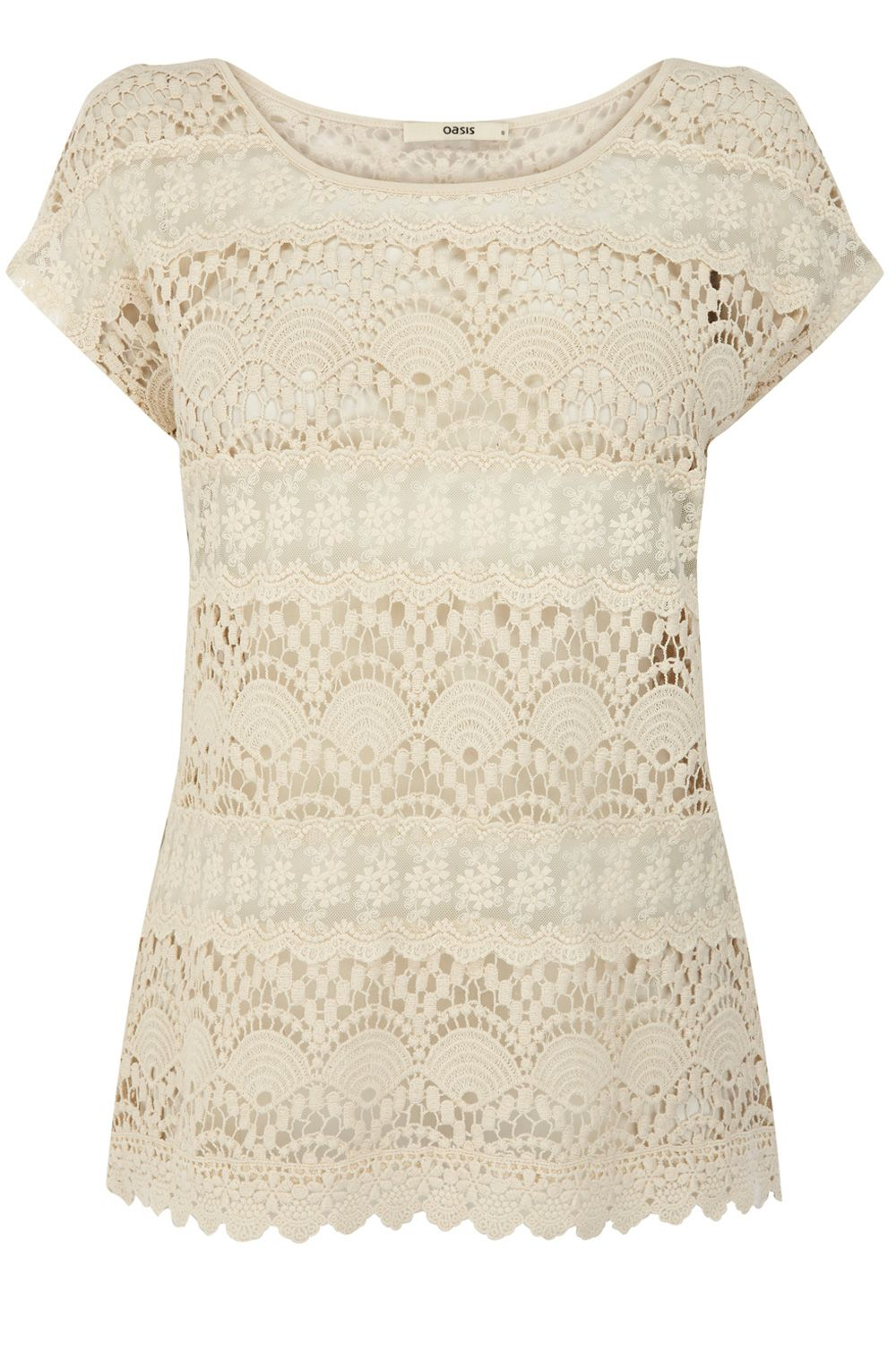 Oasis Crochet Lace T-shirt in White (off white) Lyst