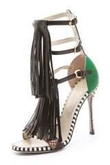 Sergio Rossi High Fringe Sandals - Lyst