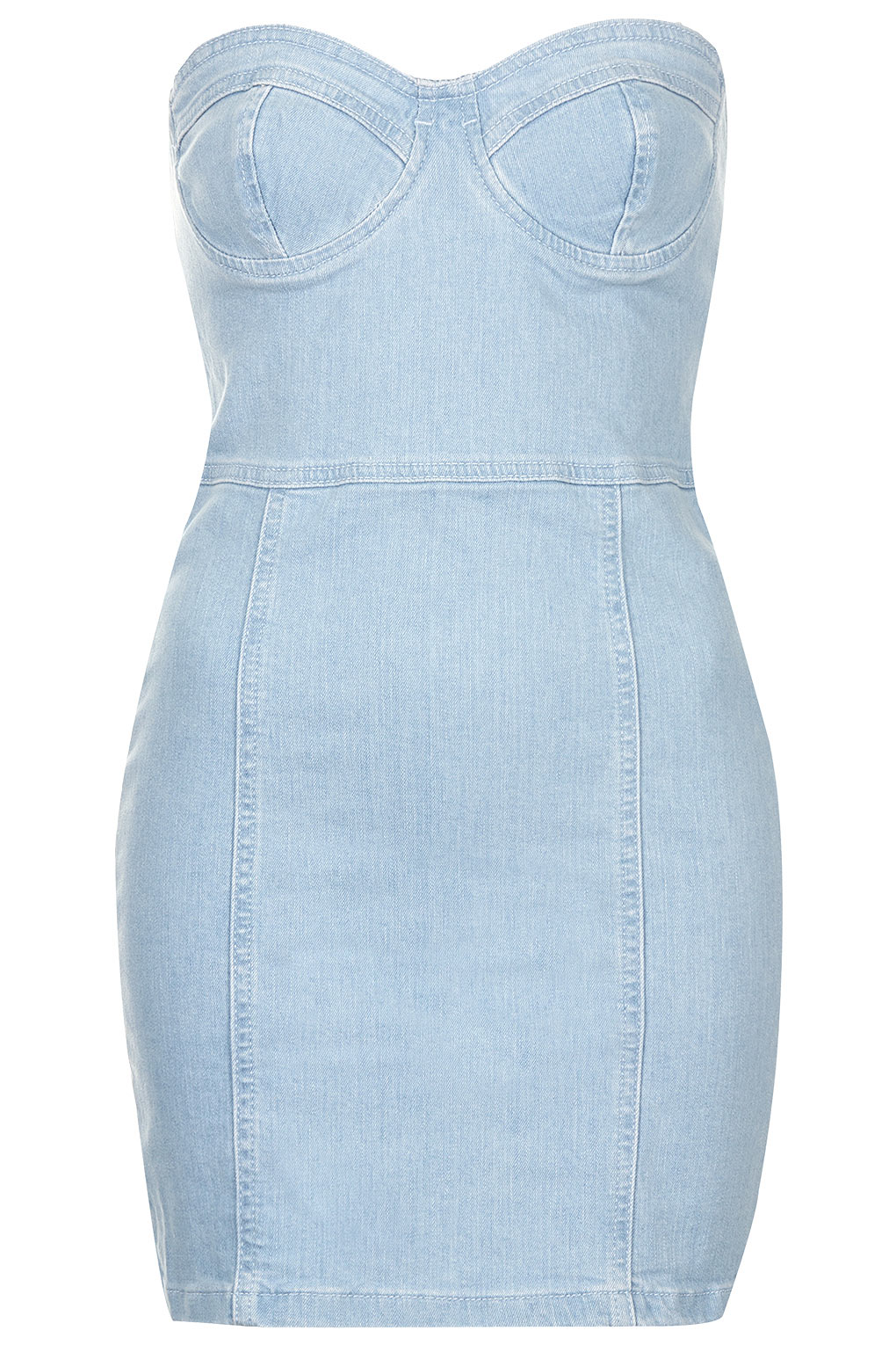 Topshop denim bandeau dress in blue denim lyst for Womens denim shirts topshop