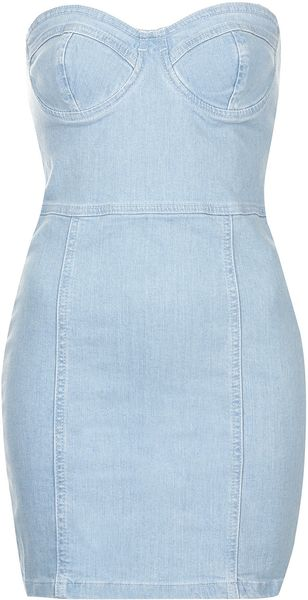 Topshop Denim Bandeau Dress - Lyst