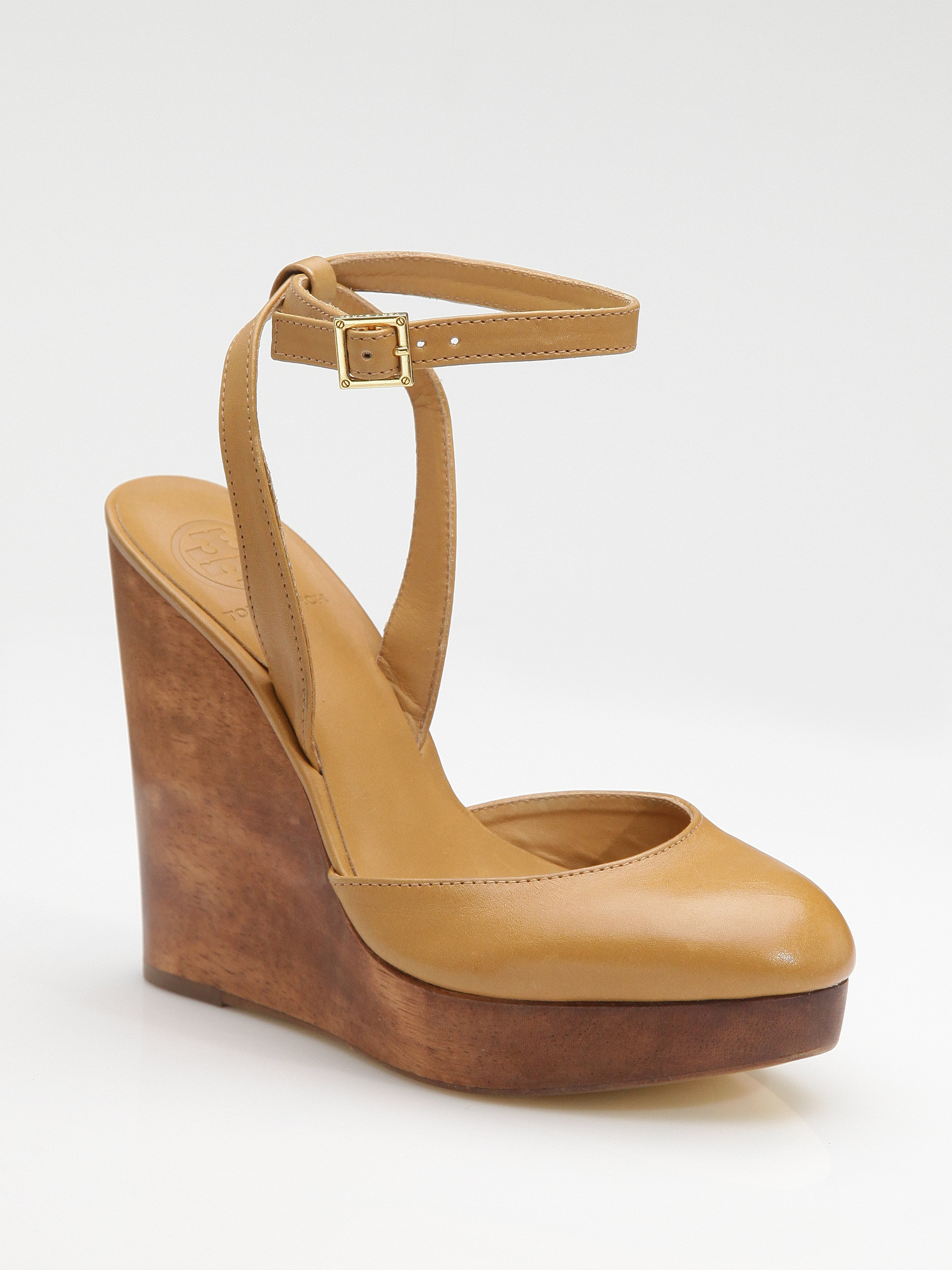 e70ee9a34420 Lyst - Tory Burch Drea Wood Wedge Sandals in Brown
