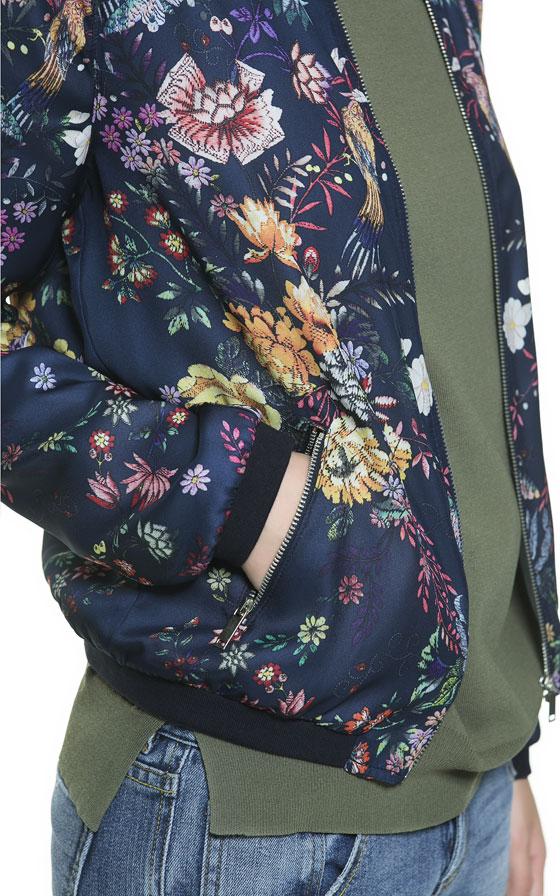 Zara Floral Print Bomber Jacket In Blue Lyst