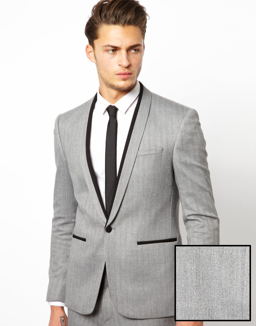 Asos Skinny Fit Suit Jacket in Herringbone in Gray for Men | Lyst