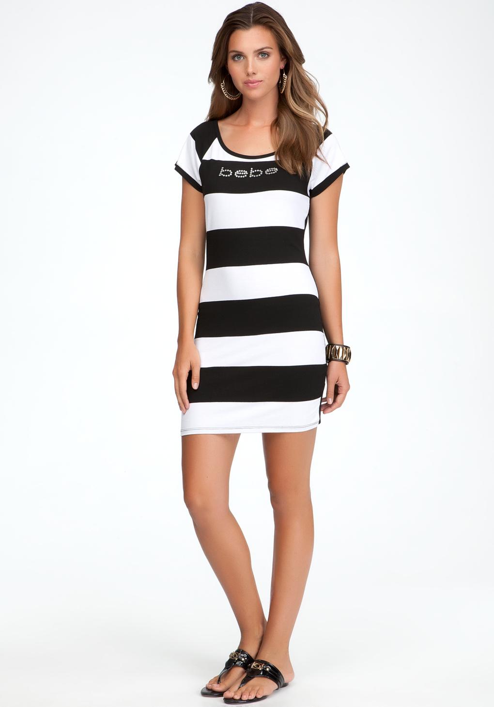 a46ebc081f Bebe Logo Rugby Stripe Tee Dress in White - Lyst