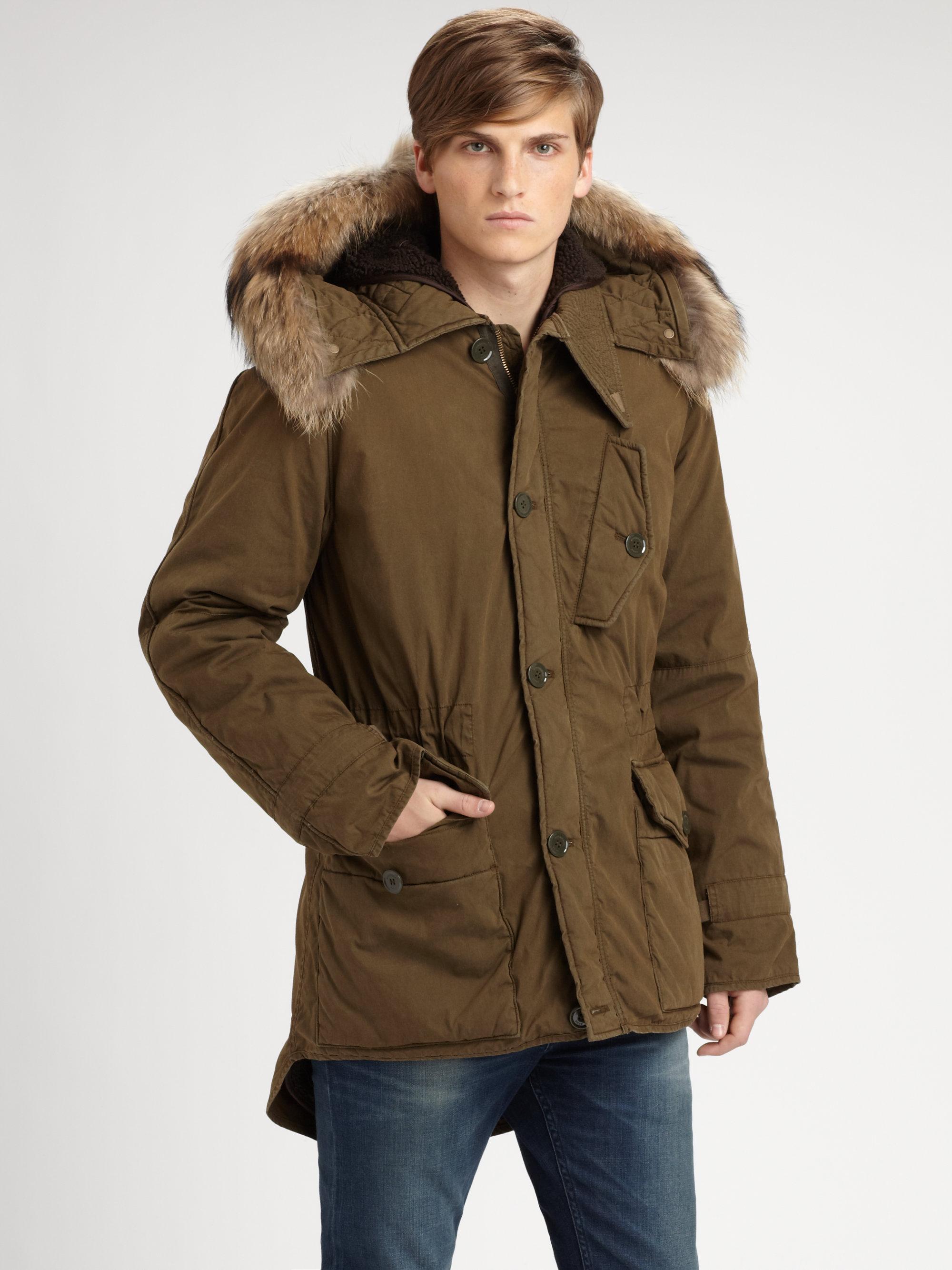 Lyst Burberry Brit Fur Hood Cotton Parka In Green For Men