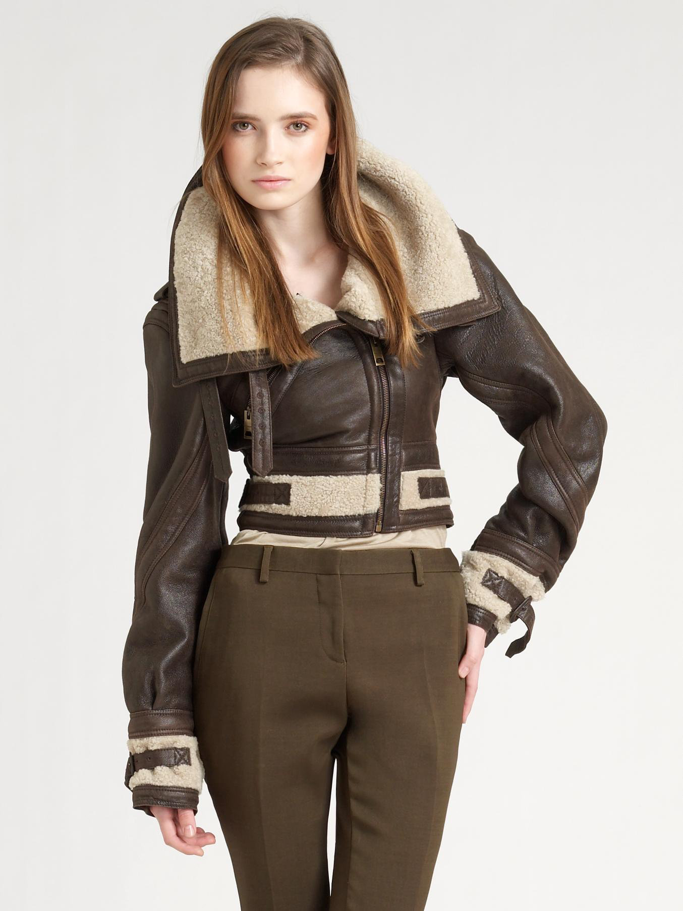 608f956a22a Lyst - Burberry Prorsum Shearling Aviator Jacket in Brown