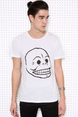 Cheap Monday White Bruce Skull Tee - Lyst