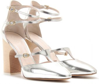Chloé Adelin Metallic Leather Block Heel Pumps - Lyst